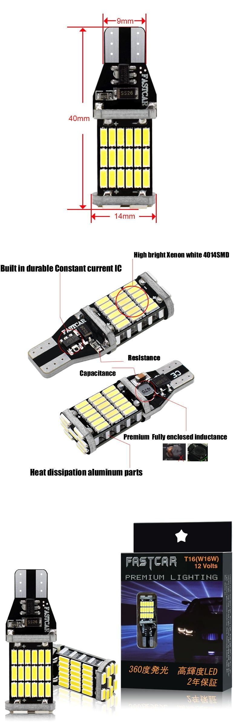 4pcs Canbus 921 912 T10 T15 45 Led 4014 Smd 45smd No Polarity T16 Bulb Light Reverse Backup Lamps Auto No Error Lights 12v 24v Bulb Lights Light Bulb