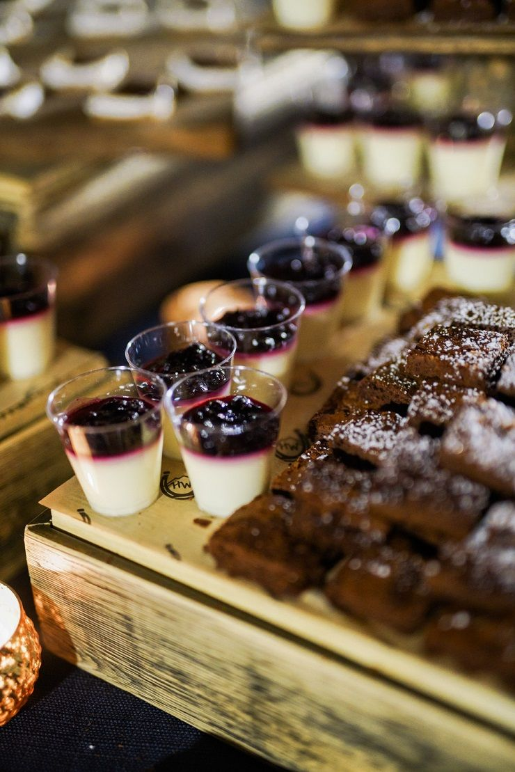 Blueberry compote wedding desserts + mini dark chocolate brownies topped with powdered sugar | fabmood.com