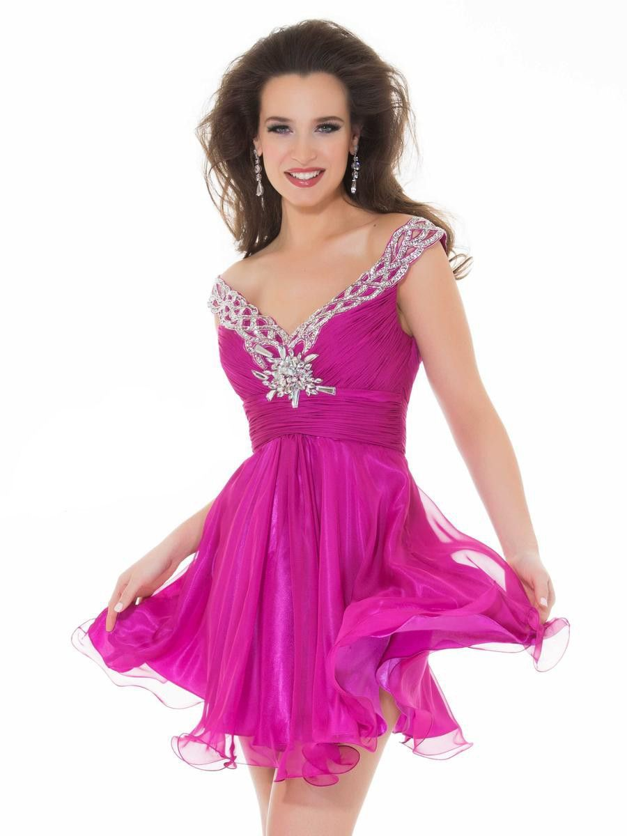 Mac Duggal 6400N Off-the-Shoulder Short Prom Dress | Teen girl ...