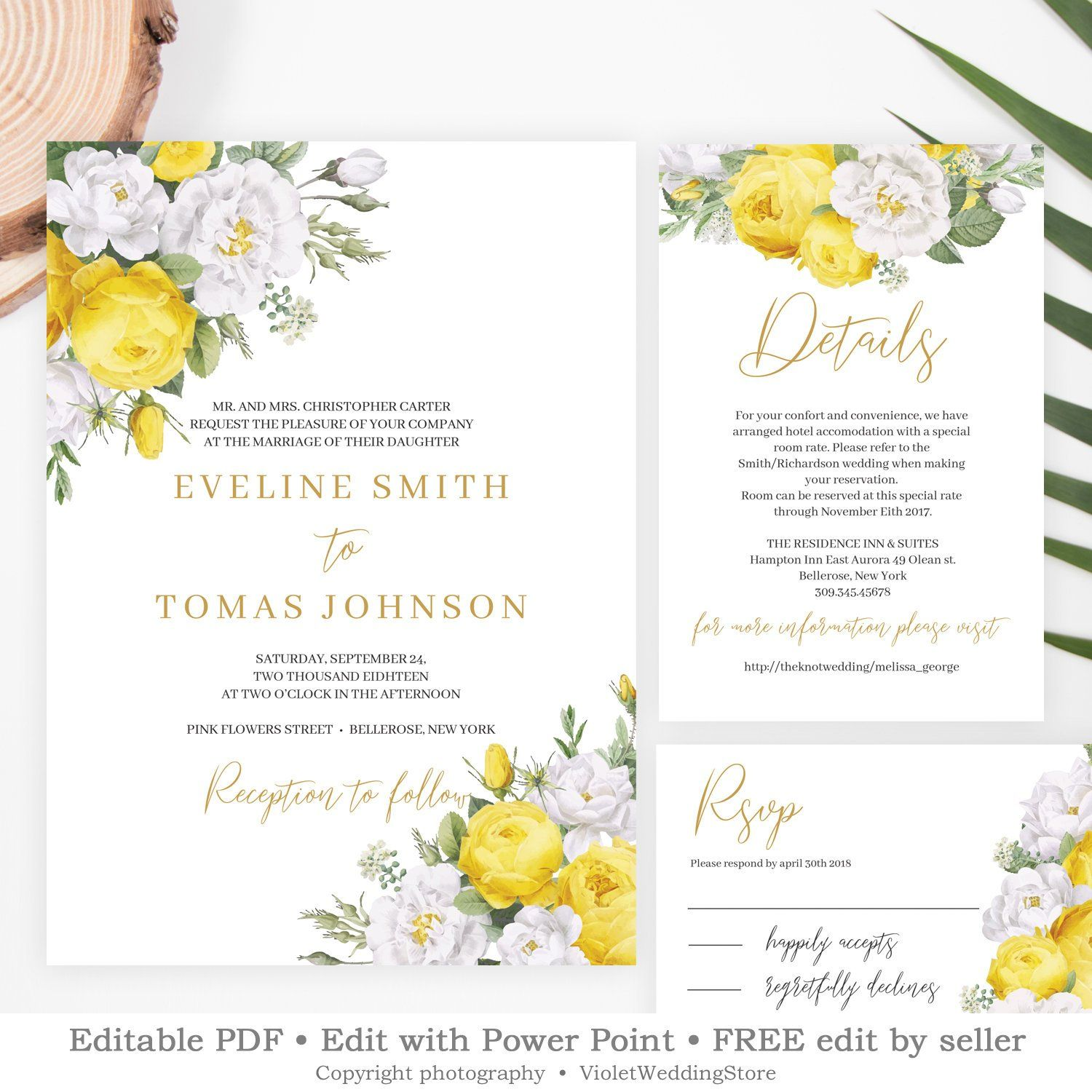 Yellow and Gold Wedding Set Template, Editable Floral Wedding