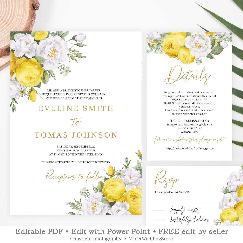 yellow floral wedding invitations