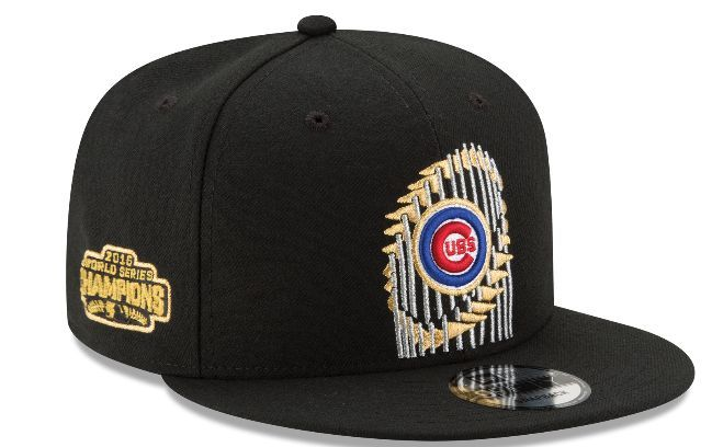 bcaf6551ada Men s Chicago Cubs New Era Black 2016 World Series Champions Trophy 9FIFTY  Snapback Adjustable Hat