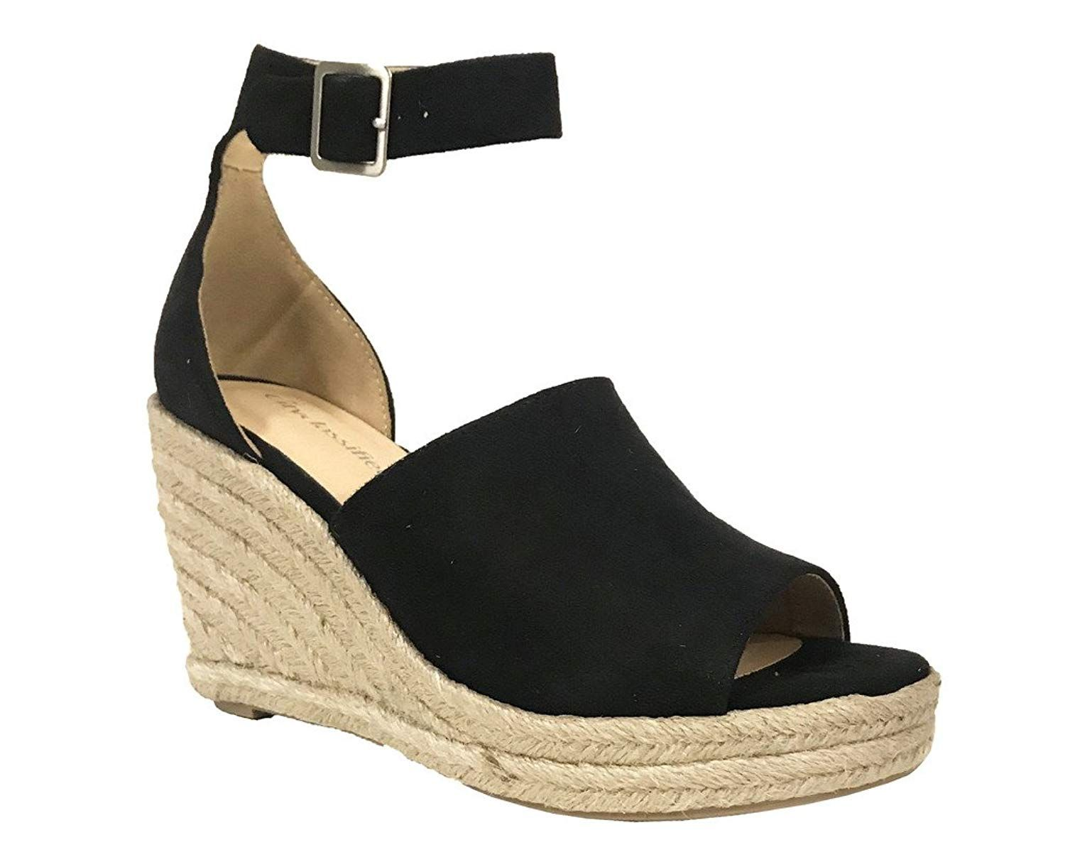 b73d08889ad City Classified Joy Women s Ankle Strap Espadrilles Wedge Sandals. New City  Classified Joy Women s Open Toe Ankle Strap Braided Wrap Around Platform ...
