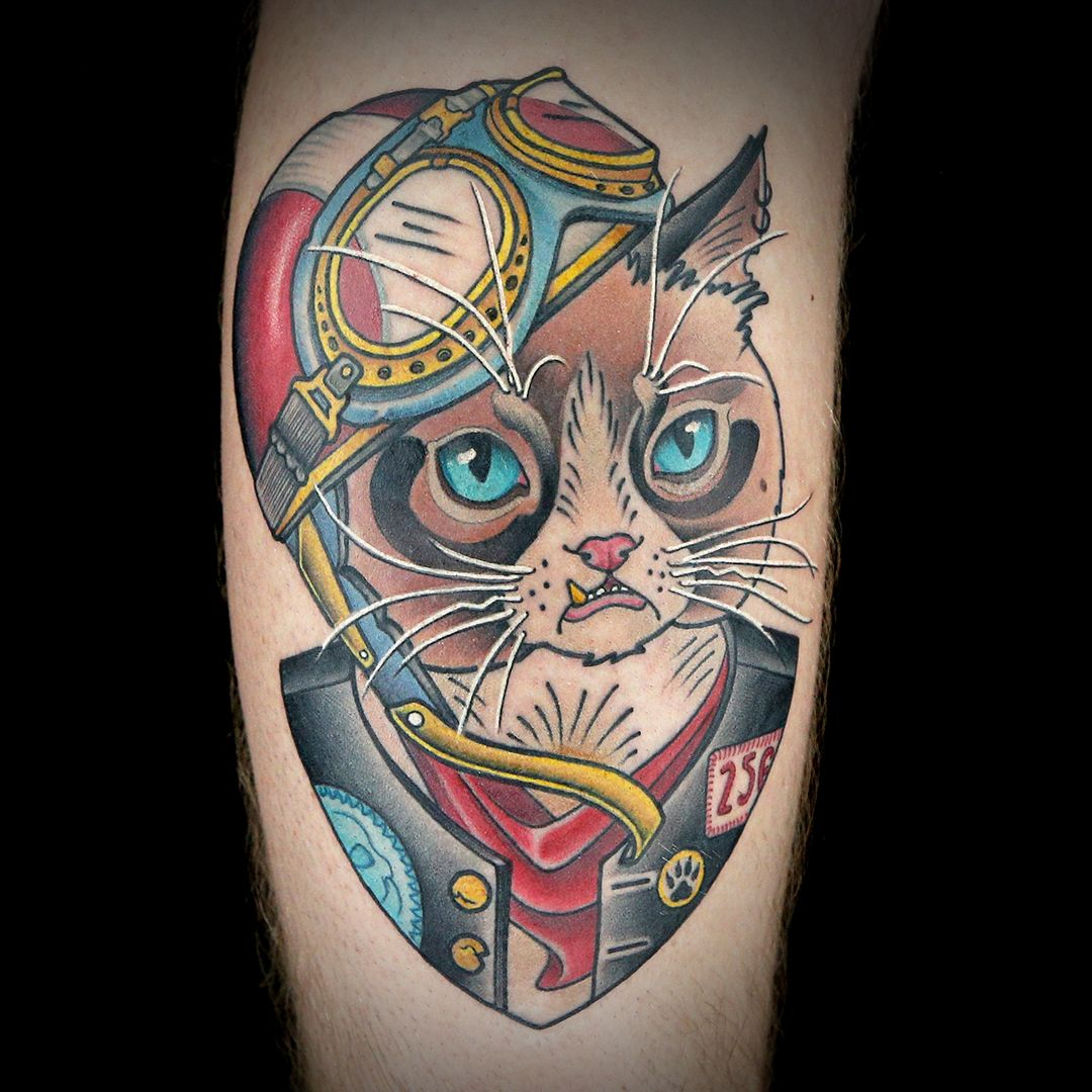 Color Illustrative Motor Cat Tattoo by Amanda Boone Ink