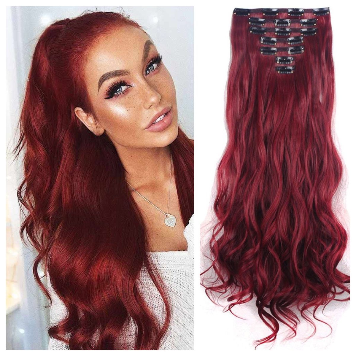 Burgundy Red Remy Clip In Hair Extensions Only 71 23 In 2020 Red Hair Extensions Burgundy Hair Clip In Hair Extensions