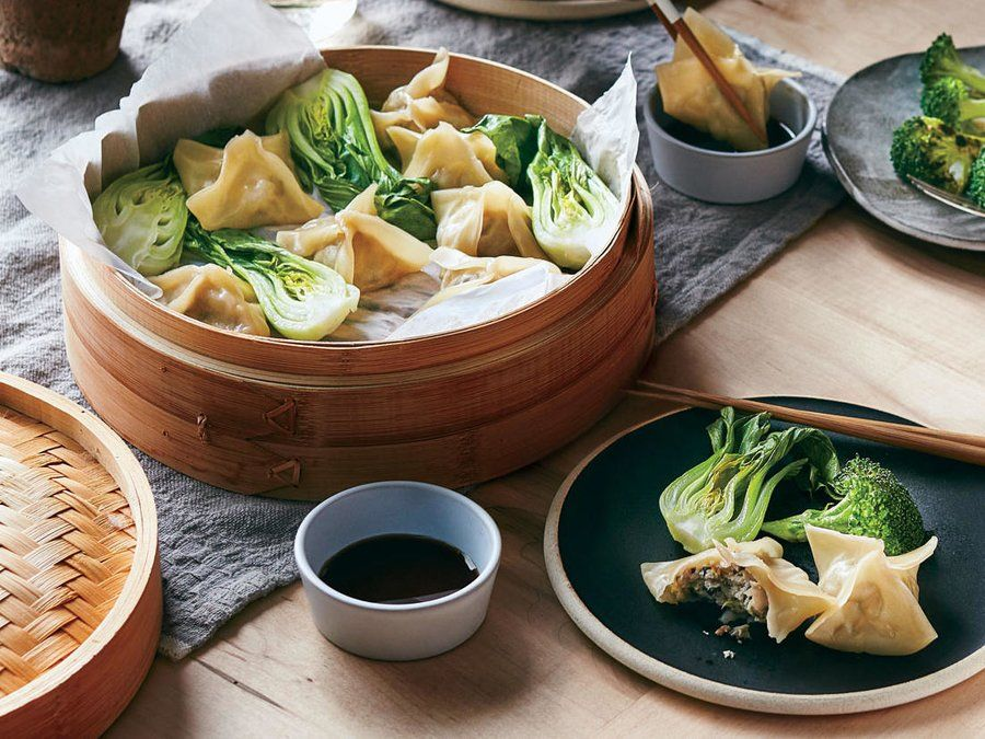 Chicken and mushroom dumplings with bok choy asian pinterest we keep these dumplings weeknight doable by using easy to find wonton wrappers look for them near the tofu and the simplest folding met forumfinder Images