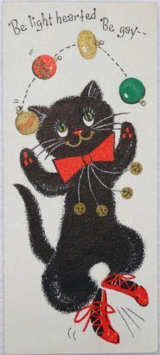 #1197 50s Hallmark Juggling Black Cat-Vintage Christmas Greeting Card