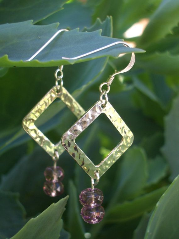 Sterling Silver Dangle Earrings with Pink Crystals  2 by FOLIOSA, $20.00