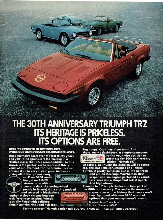1980 Advertisement TR7 Triumph Blue 30th Anniversary Edition Red Convertible Sports Classic Car Driver Owner Collectible Wall Art Decor
