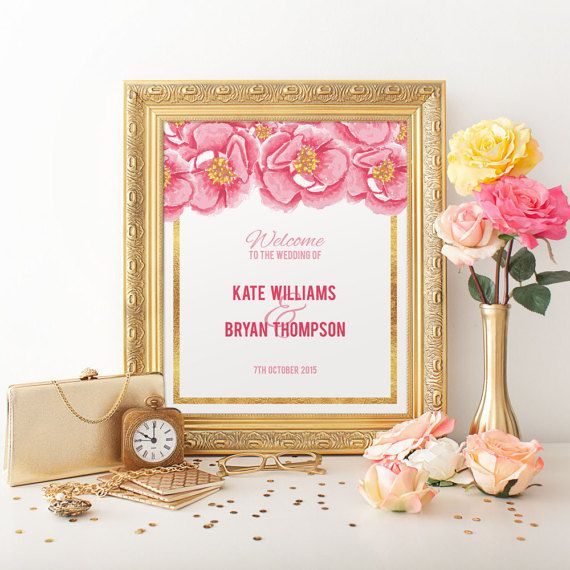 Pink and Gold Peony Wedding Signs. Welcome to by PaperBoundLove