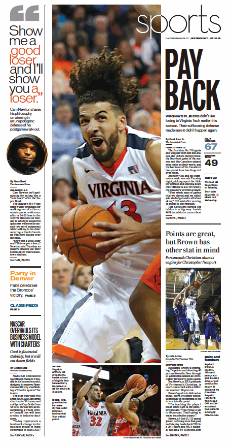 The Virginian Pilots Sports Front Page For Wednesday Feb 10 2016