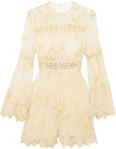 c79ddaaa35 Zimmermann - Tropicale Antique Lace-trimmed Embroidered Silk-georgette  Playsuit - Ivory