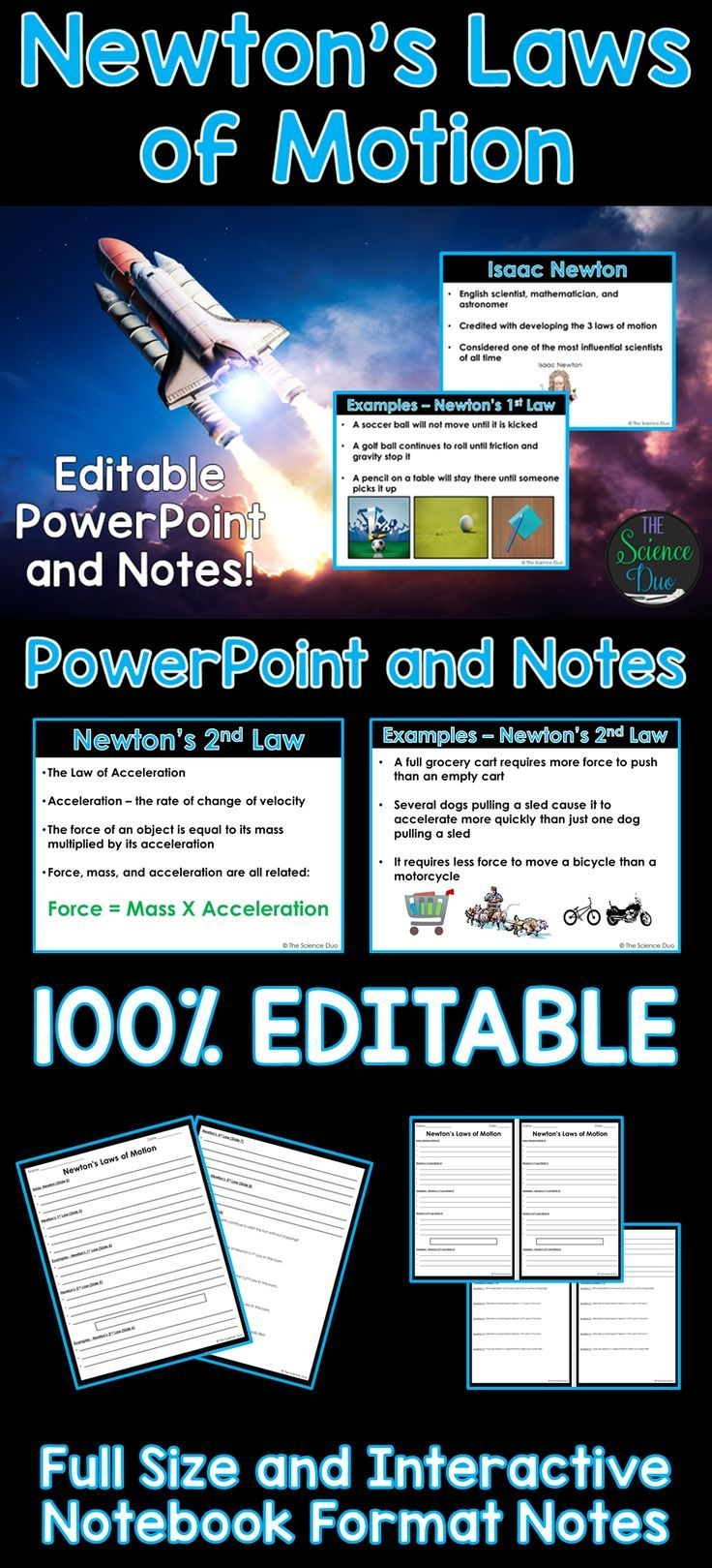 Newton's Laws of Motion PowerPoint and Notes Newtons