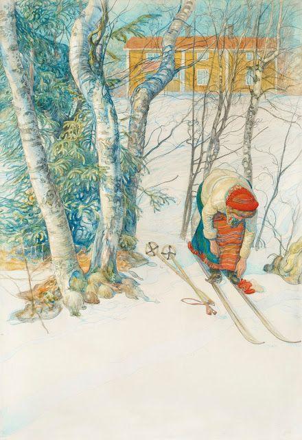 Skidlöperska / Flicka spänner på sig skidorna I Carl Larsson
