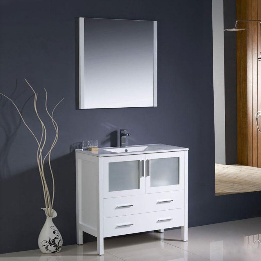 Fresca Bari White Undermount Single Sink Bathroom Vanity with
