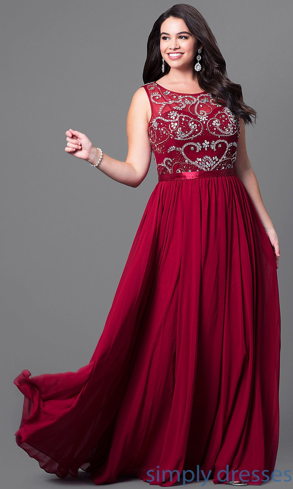 Long plussize formal dress with beaded bodice plus size fashion