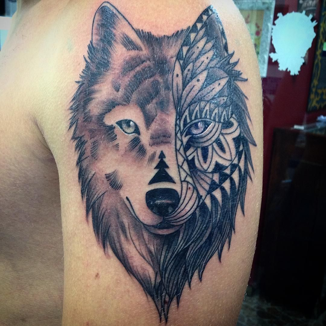 Mandala Wolf Tattoo Designs For Women I Like The: New Black Wolf Tribal Tattoo Design