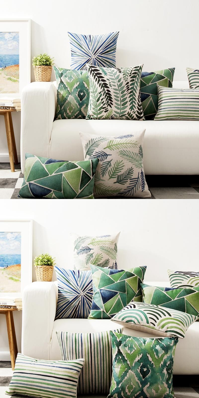 Visit to buy decorative throw pillows case cover green watercolor
