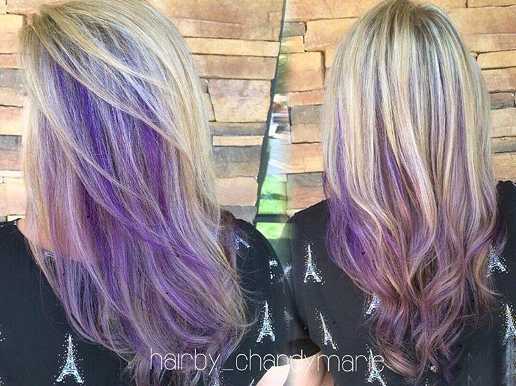 Full Highlights Purple Peekaboos And Lavender Ends Chandymarie Hairbychandymarie Purplehai Purple Underneath Hair Hair Styles Purple Highlights Brown Hair