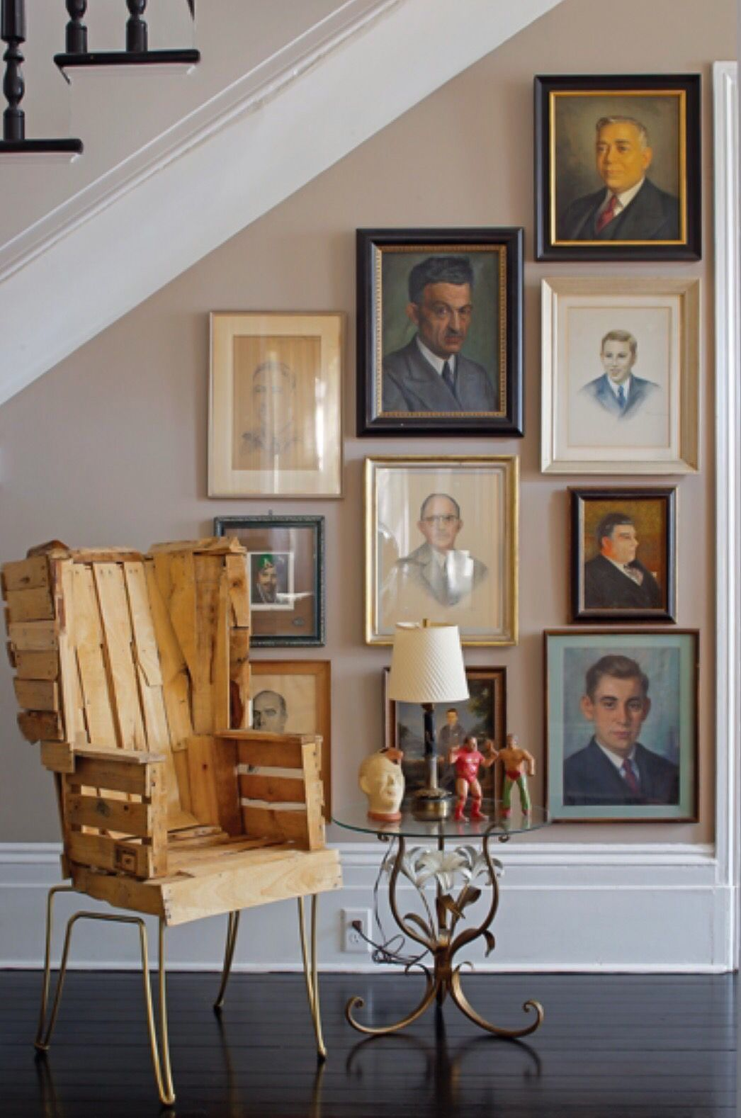 Arrangement Under Stairs Gallery Wall Of Painted Portraits