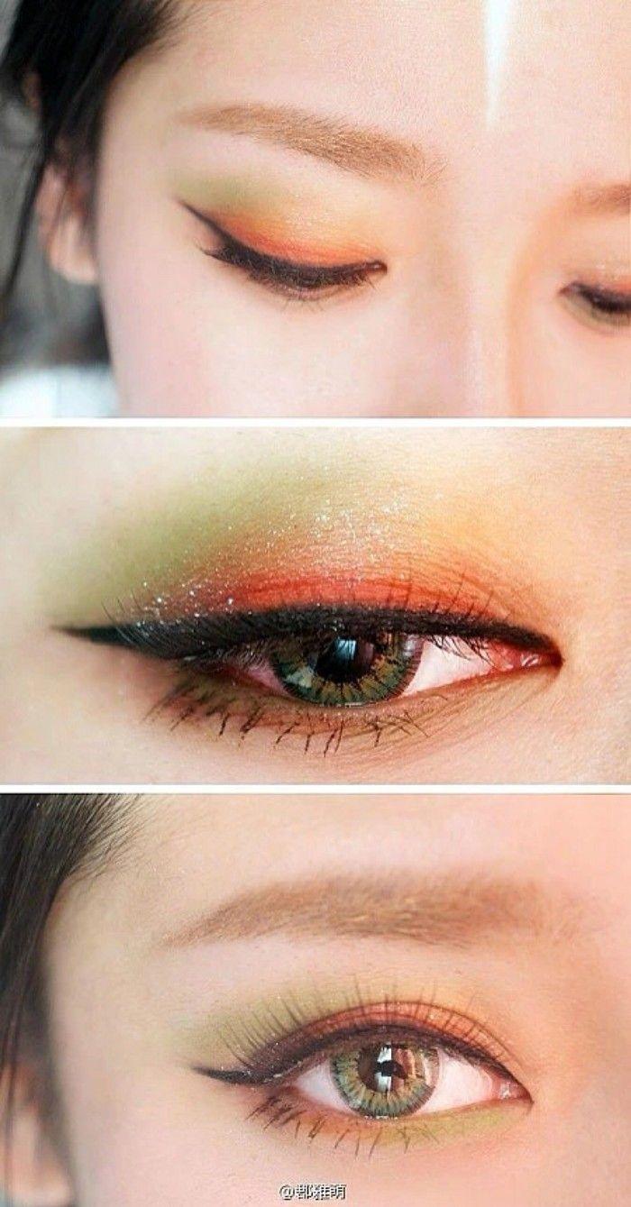 #korean #asian #eye #makeup green and orange