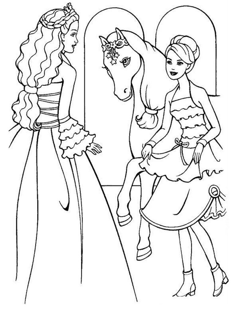 Coloring sheet barbie - Cool Barbie Horse Coloring Page
