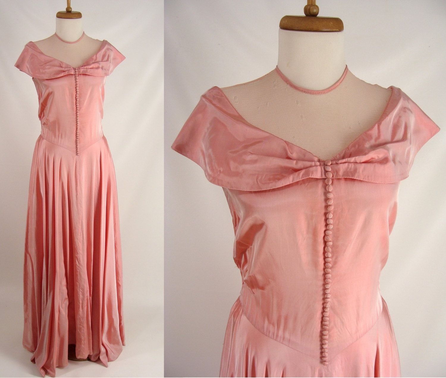 pink silk gown original vintage s s rose pink formal