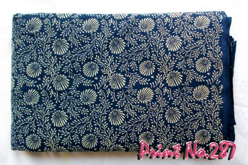 Indian Handmade Natural Hand Block Printed 3 Yard Sanganeri Cotton Fabric **