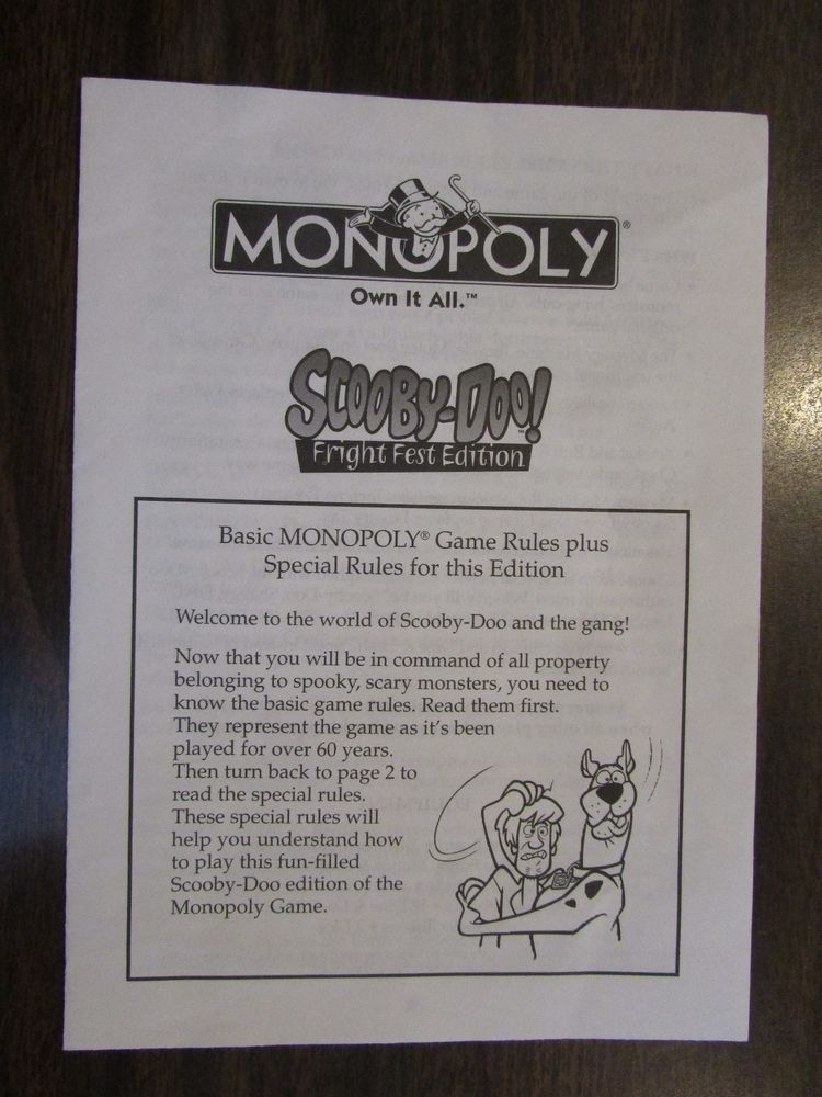 Monopoly Scooby Doo Fright Fest Edition Game Rules Board Game