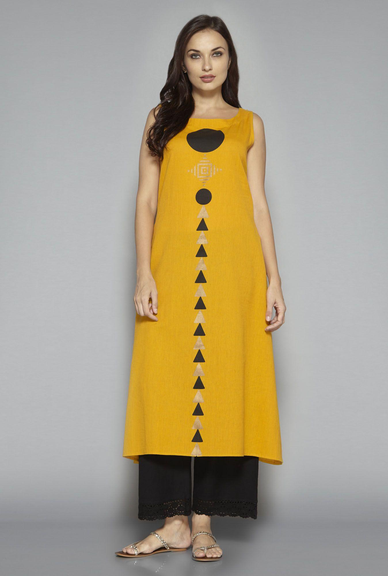 a1701e9c3 Utsa by Westside Yellow Printed Kurta