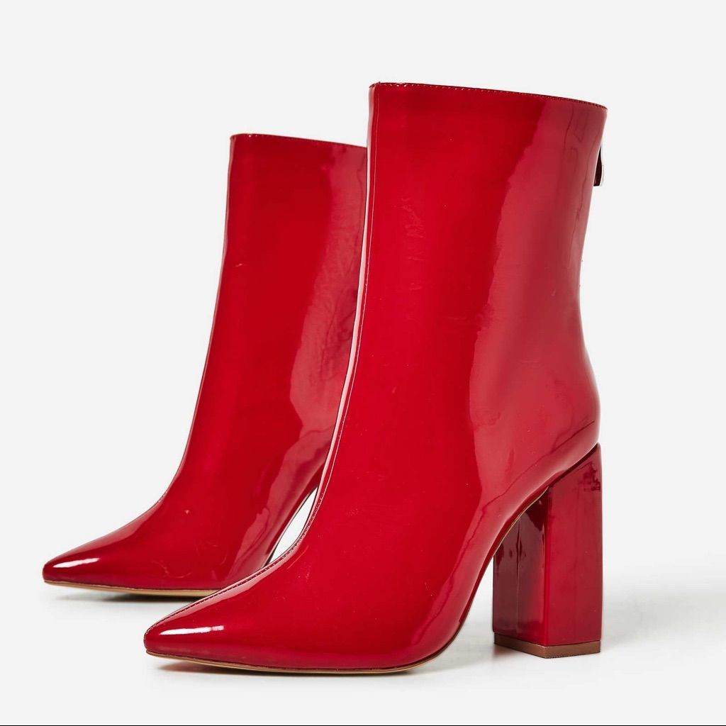 42ea41e0561 EGO Official Shoes | Ego Everly Block Heel Ankle Boot In Red Patent ...