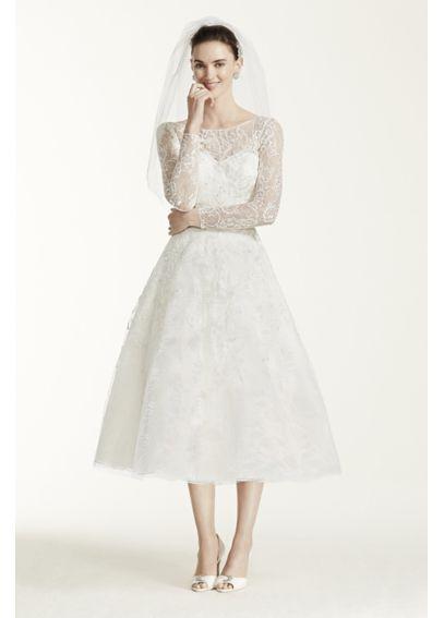 Oleg Cassini Tea Length Lace Tulle Wedding Dress | Davids ...