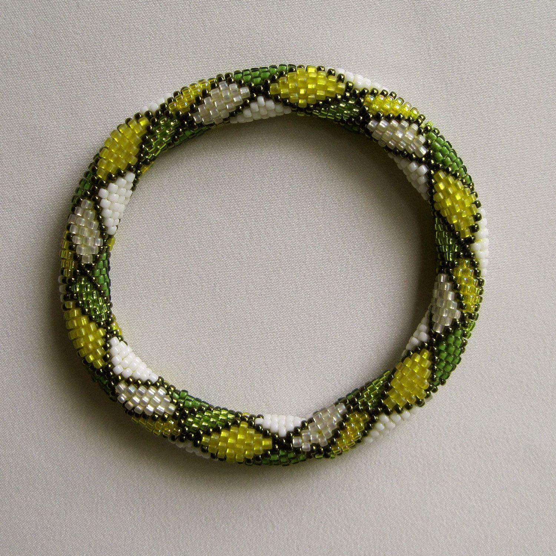 Bead Crochet Pattern: Tartan Plaid Bead Crochet Bangle Pattern ...