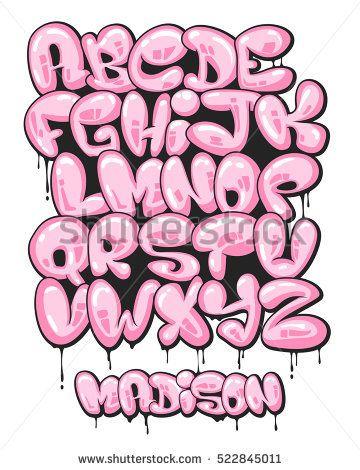 Graffiti Bubble Shaped Alphabet Set Grafitti In 2019 Letras