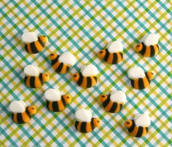 Bumble Bee Edible Sugar Decorations For Cupcake And Cake Decorating 48