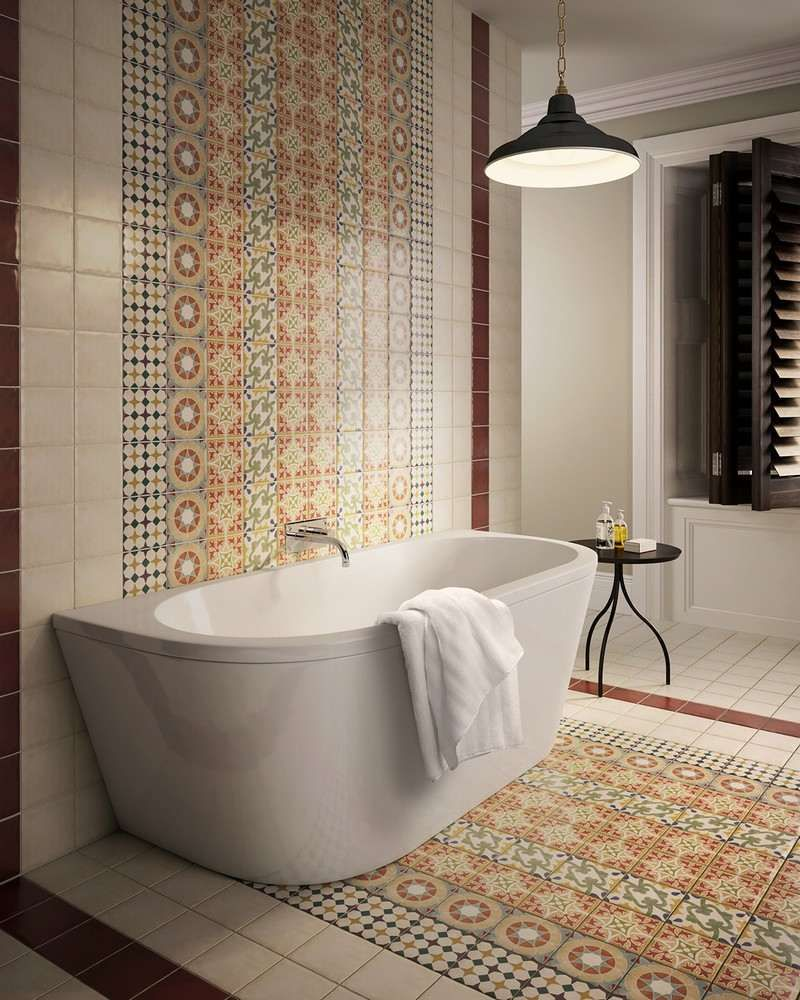 interieur murals and patchwork on pinterest - Salle De Bain Contemporaine Carrelage