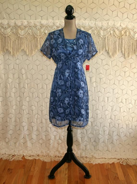 c0e73568f8d7 Boho Blue Floral Satin Mini Dress and Short Sleeve Jacket Chiffon 2 Piece  Set Spring Summer Vintage
