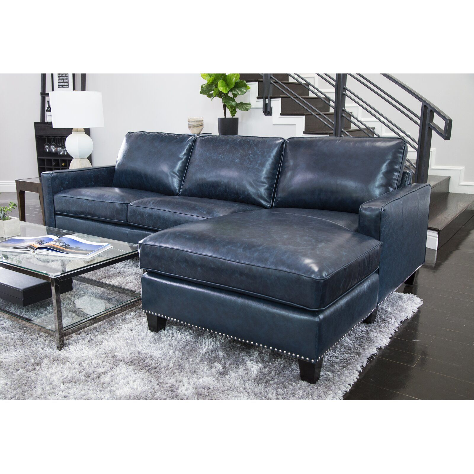 Darby Home Co Samatha Leather Right Hand Facing Sectional Wayfair Blue Leather Couch Sectional Sofa With Chaise Leather Sectional