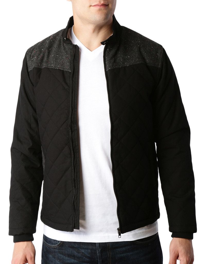 Mens Lightweight Quilted Full Zip Bomber Jacket with Elbow Patches ...