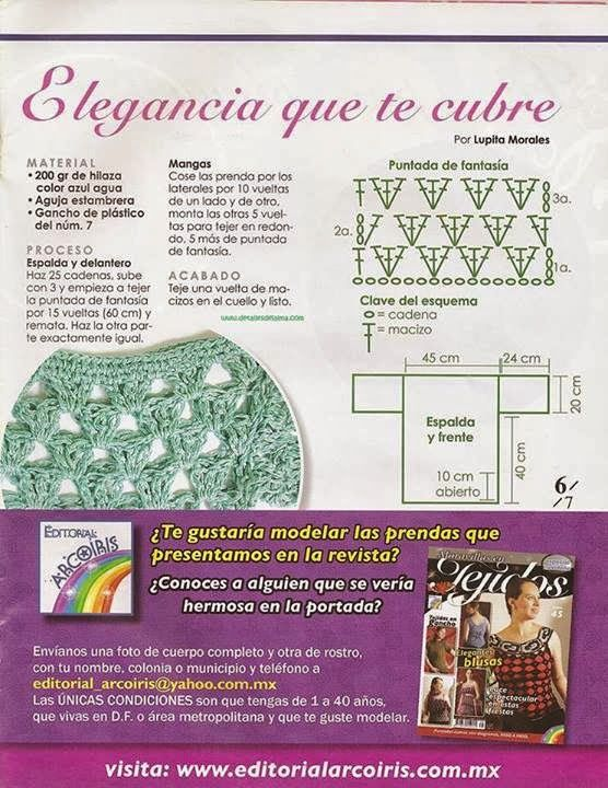 Tejido Facil: Patrón: 1,2, 3 blusa crochet super express y femenina ...