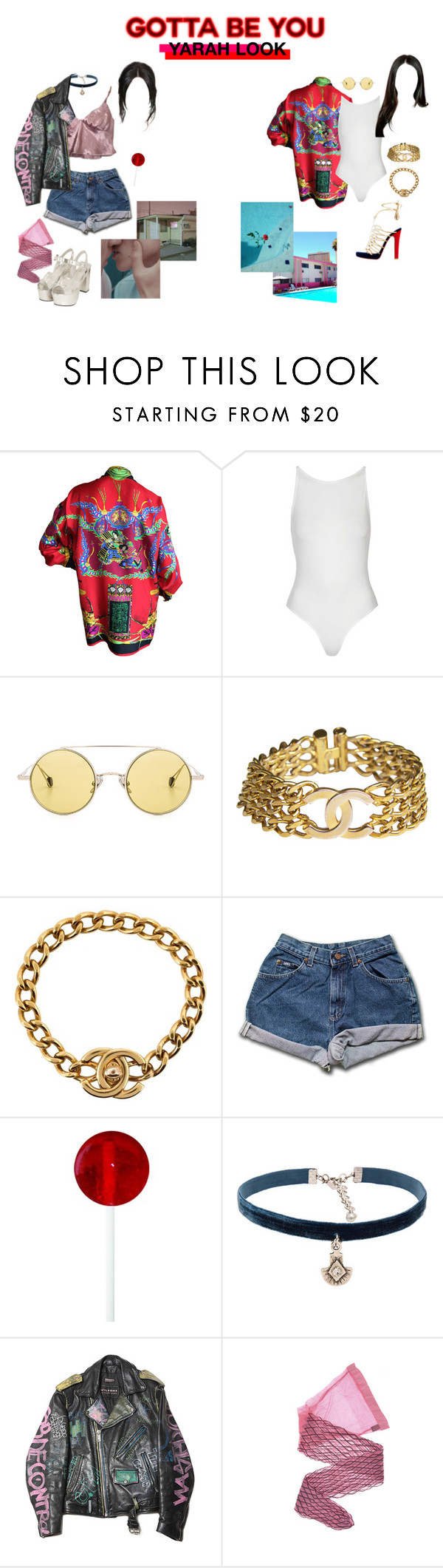 """""""ARIA   'Gotta Be You' M/V look"""" by ariaofficial ❤ liked on Polyvore featuring Versace, Topshop, Ahlem, Christian Louboutin, Chanel, GET LOST, Natalie B and Wolford"""