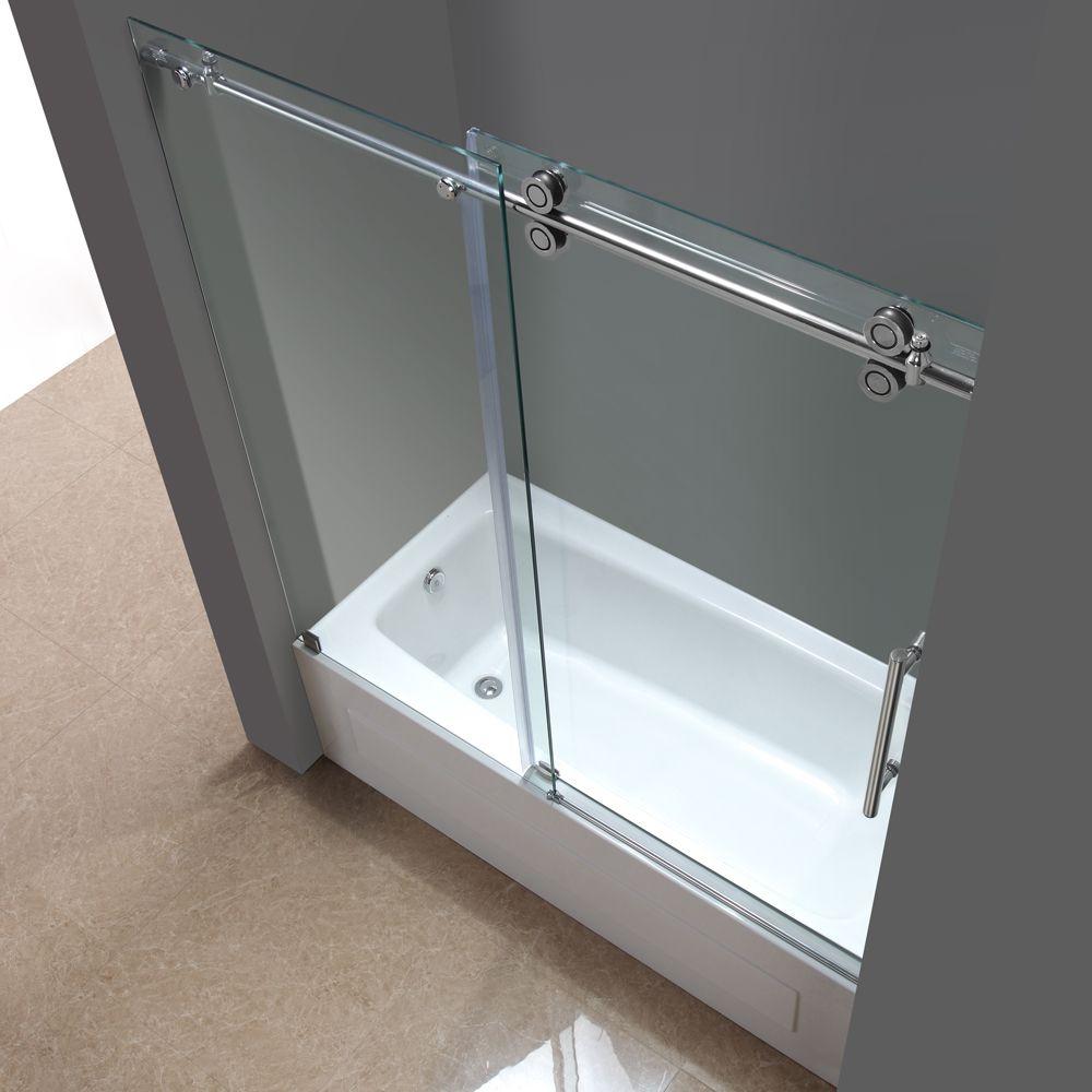 TDR978 LANGHAM Completely Frameless Sliding Tub-Height Shower Door ...