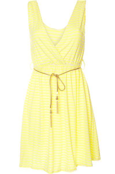 Nouvelles Arrivées e59af 93493 Belle robe jaune fluo à rayures blanches et avec ceinture ...