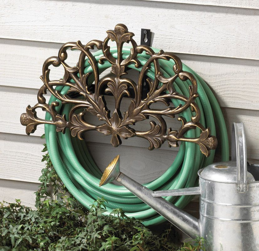 Filigree Decorative Garden Hose Holder Hanger Mounted Rack Reel Outdoor  Water #Whitehall