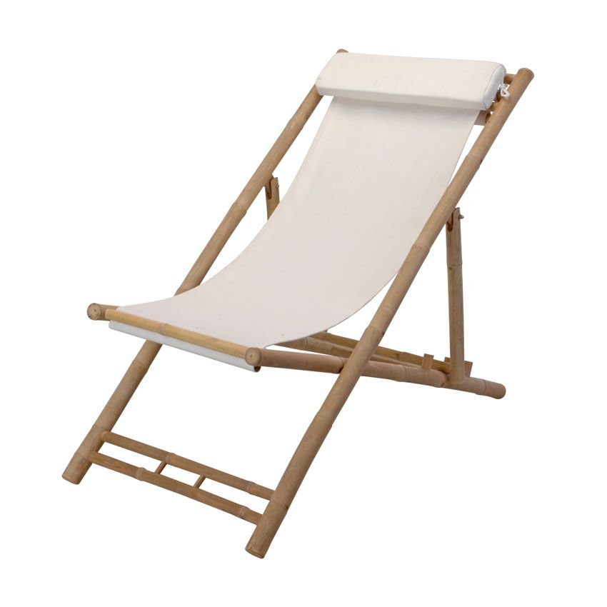 Lote de 2 Sillas de playa bamb  - Blanco sillas Pinterest - sillas de playa