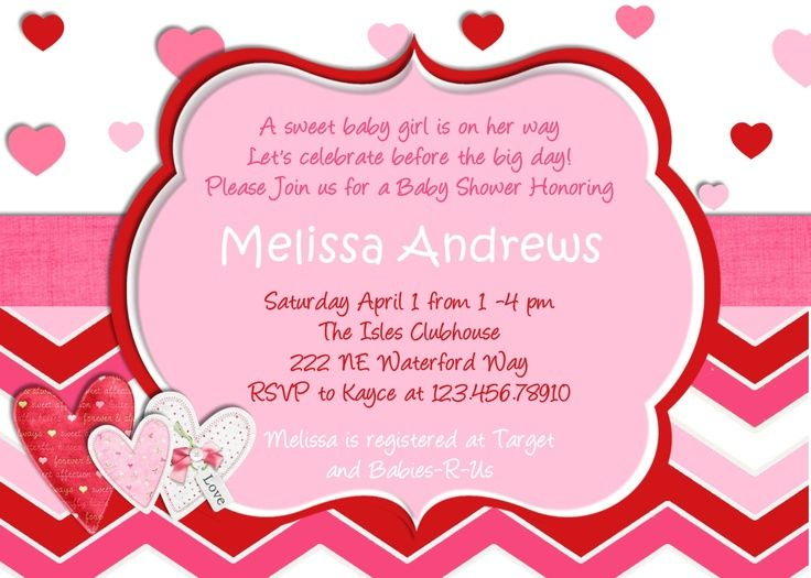 ValentineS Day Baby Shower Invitation  Baby    Babies