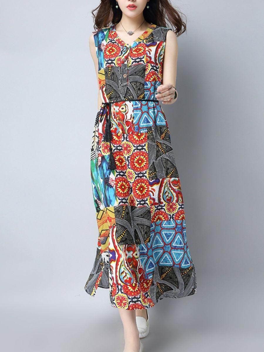 #AdoreWe #Fashionmia Fashionmia V-Neck  Side Slit Single Breasted  Printed Maxi Dress - AdoreWe.com