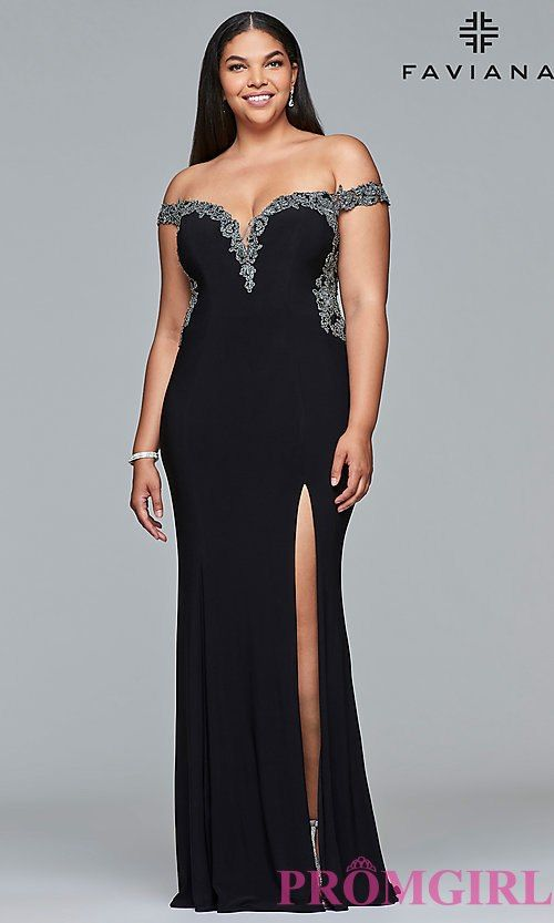 Plus Size Prom Dress With An Off The Shoulder Neckline Gala