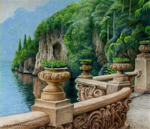 Daily Paintworks Villa Balbianello Original Fine Art For Sale C Joe Fitzgerald Original Fine Art Color Pencil Art Fine Art