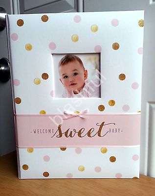 ac9e310be35 Carters Pink Gold Glitter Polka Dot Sweet Sparkle Baby Girl Memory Keepsake  Book